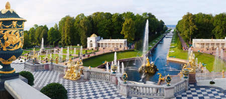 The famous Grand cascade is the most grandiose fountain construction of the Peterhof ensemble, Russia. Golden statues and fountains.