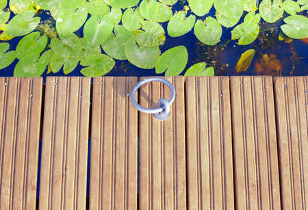 A mooring ring at the edge of a wooden plank pier above the water, where large leaves of water lilies float on the surface. Top view