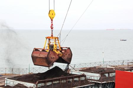 Cargo terminal for discharging coal cargo from vessel. Port of Tuticorin, India.