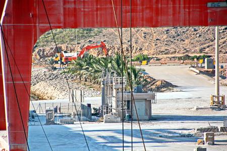 Cargo terminal for loading gypsym cargo. Port of Salalah, Oman, Indian Ocean.