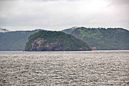 Landscape views of the coastline and bunkering vessels. Trinidad and Tobago Islands.