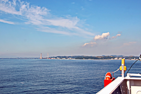 Landscape view of the coastline and waters of the port of Chiba, Tokyo Bay. Japan