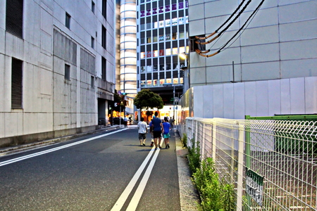 Types of city streets, squares and buildings. City Chiba, Japan.