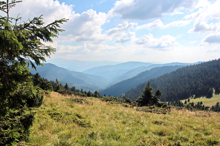 Landscape view of the Carpathian Mountains, Ukraine.