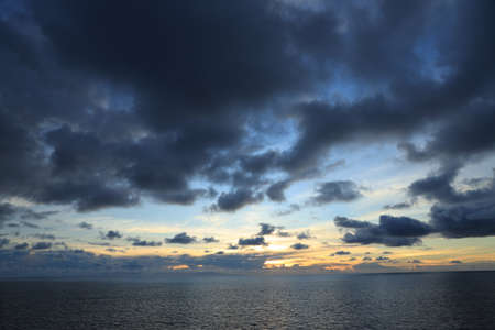 Seascape, blue sky, clouds and sea in the tropical waters of the Pacific Ocean. Stock fotó
