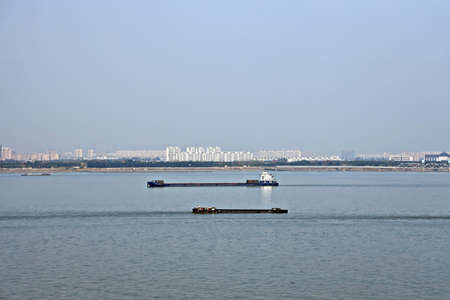 The movement of river and sea transport along the Yangtze River. Jiangyin. China