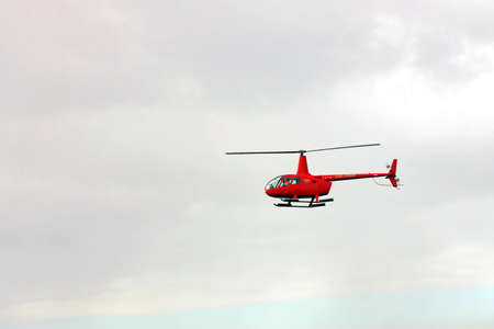 A helicopter used to receive a pilot on a sea vessel. Gladstone QLD, Australia Banque d'images