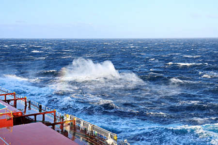 The movement of the vessel against the waves during a heavy storm. North Pacific ocean.