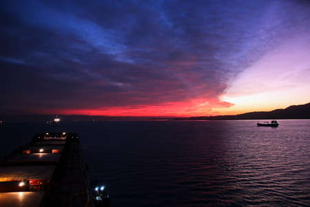Sunset in Suez Canal & Suez bay..Panoramic view of the coast and canal in the bays of Suez.