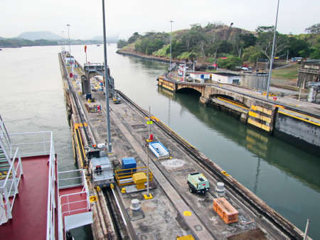 Panama Canal. Panama. April, 20,2019. Passage through the Panama Canal by large sea vessels. Editorial