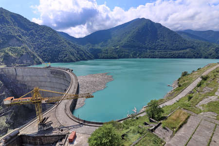 Panoramic view of the dam of the Inguri hydroelectric power station, Georgia.Summer. 2019