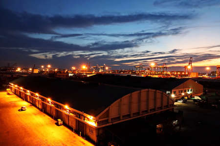 Port of Taichung, Taiwan. September, 24, 2020. Various night views of the port, piers, terminal and cityline of the Port Taichung.