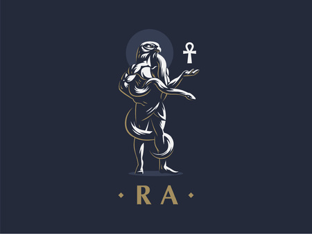 Egyptian god Ra keeps the ankh. Vector emblem.