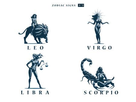 Zodiac signs. Set. Vector illustration.