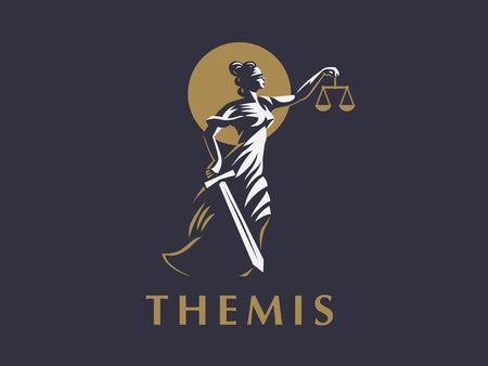 Die Göttin Themis mit einem Schwert der Gerechtigkeit und Gewichten in den Händen. Vektoremblem.