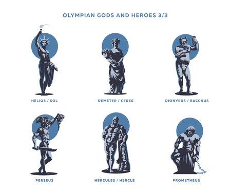 Olimpianische Götter und Helden. Satz Vektorabbildungen.