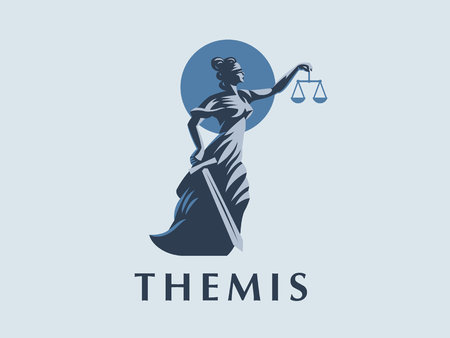 The goddess Themis with a sword of justice and weights in her hands. Vector emblem. 矢量图像