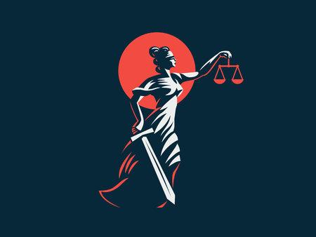 Bogini Temida z mieczem sprawiedliwości i ciężarkami w dłoniach. Godło wektor.
