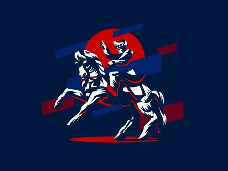 Napoleon te paard. Vector illustratie.