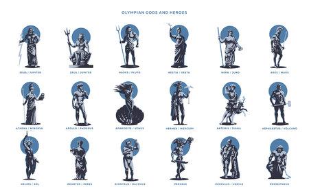 Dei ed eroi olimpici. Set di illustrazioni vettoriali.