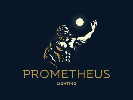 Greek hero Prometheus. Light in the hand. Vector illustration.  イラスト・ベクター素材