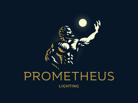 Greek hero Prometheus. Light in the hand. Vector illustration. Ilustração
