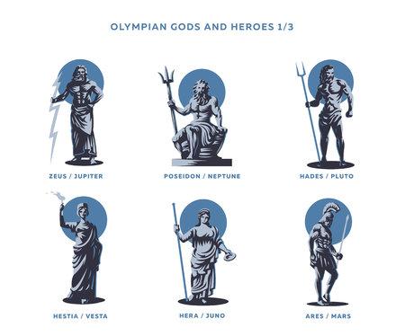 Olimpianische Götter und Helden. Satz Vektorabbildungen. Vektorgrafik