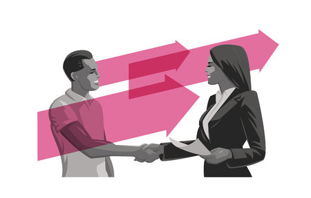 A man and a woman make a deal. Handshake. Vector illustration. Stock Illustratie