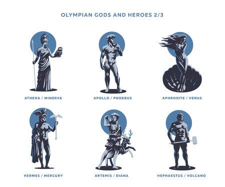 Dei ed eroi olimpici. Set di illustrazioni vettoriali. Vettoriali