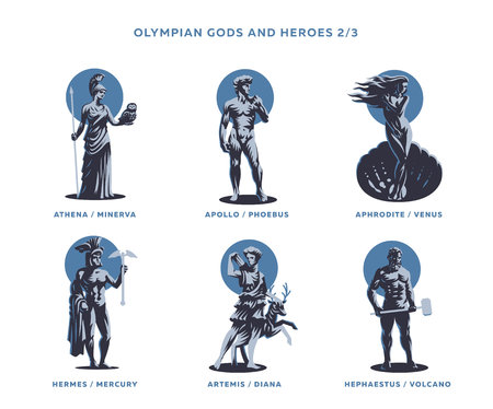 Olimpian gods and heroes. Set of Vector illustrations. Archivio Fotografico - 105441816