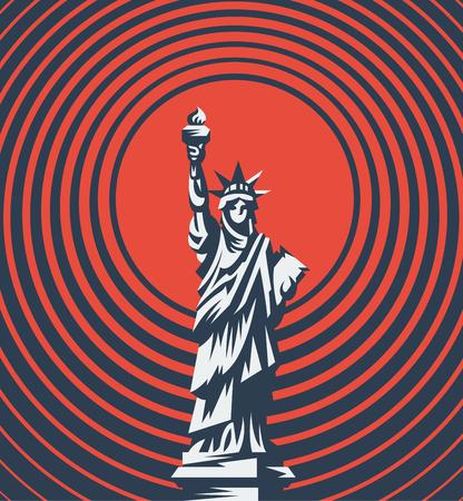 The Statue of Liberty. Vector flat illustration. Çizim