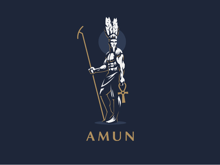 The Egyptian god Amun. Vector emblem.