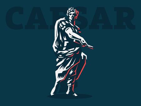 César en una corona de laurel con un pergamino en la mano. Vector emblema. Ilustración de vector