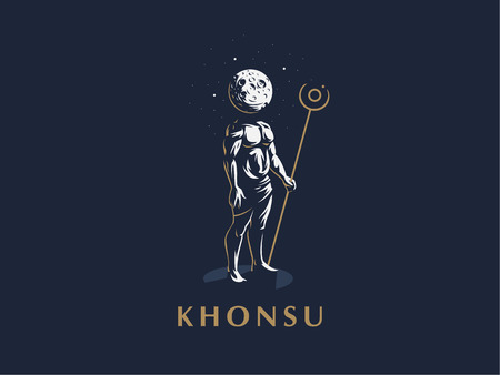 The Egyptian god Khonsu. A man with a moon instead of a head. Vector emblem.