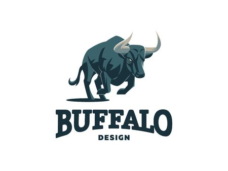 Bull in nature. Field, wild nature. Vector illustration.
