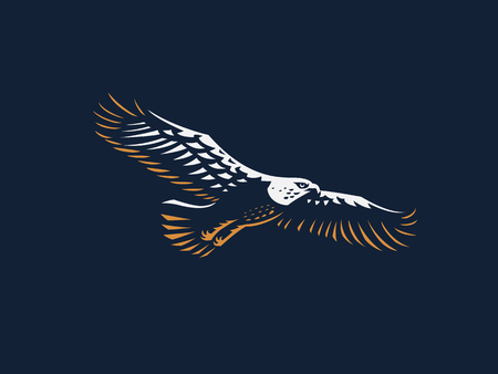 The flying eagle. Vector emblem.