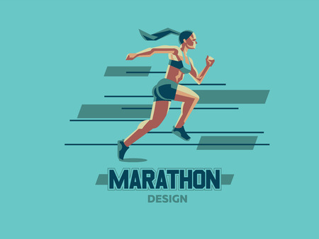 A female athlete is running. Vector emblem. Illustration