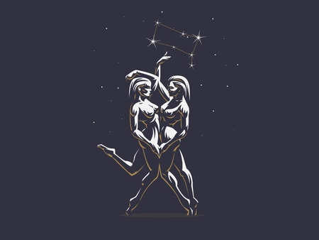 Gemini. Two girls are twins. Vector illustration.