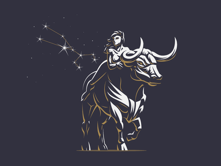 Sign of the zodiac Taurus. A woman is riding a bull. Vector illustration.