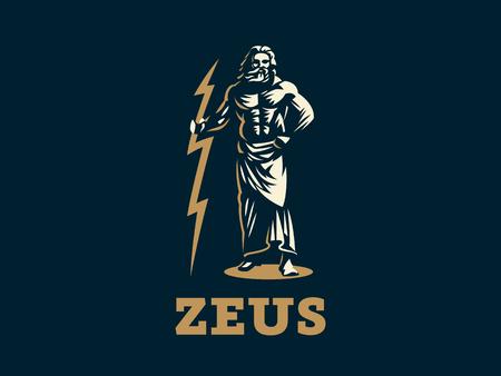 Il dio greco Zeus. Zeus sta con un fulmine tra le mani. Illustrazione vettoriale. Vettoriali