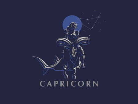 Sign of the zodiac Capricorn. A woman riding a horse in Capricorn. Vector illustration.