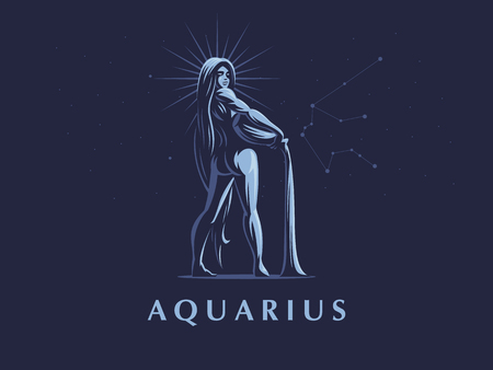 Sign of the zodiac Aquarius. Vector illustration. Vecteurs