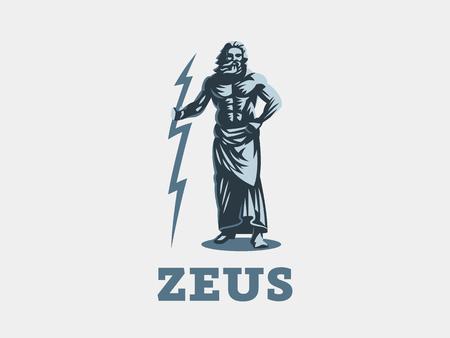 Der griechische Gott Zeus. Zeus steht mit einem Blitz in den Händen. Vektorillustration.