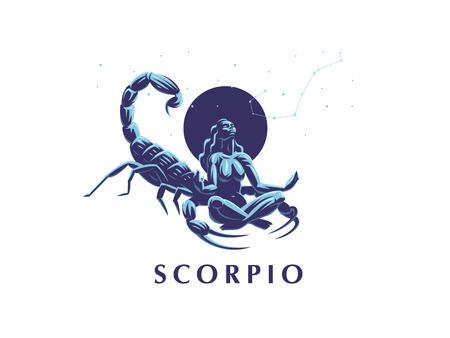 Signo del zodíaco Escorpio. Constelación del Escorpión. Una mujer medita junto a un escorpión. Ilustración de vector