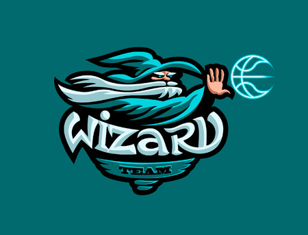 The mascot of the basketball team. A wizard in a hat throws a basketball. Vector illustration.