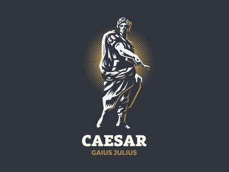 César en una corona de laurel con un pergamino en la mano. Emblema de vector.