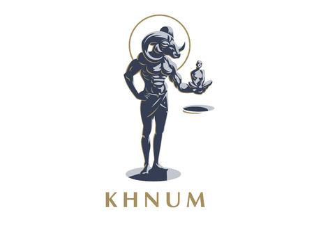 The Egyptian god Khnum. A man with a goat's head, a woman in his hands. Vector emblem. Vektoros illusztráció