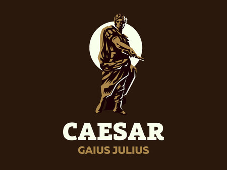 Caesar in a laurel wreath with a scroll in his hand. Vector emblem. 写真素材 - 105655153