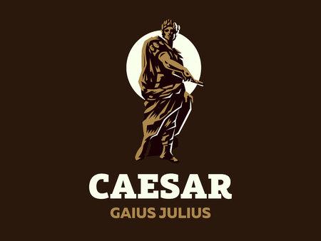 Caesar in a laurel wreath with a scroll in his hand. Vector emblem. Foto de archivo - 105655153
