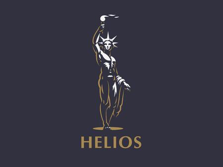 Helios, der Sonnengott, beleuchtet mit einer Fackel in den Händen die Erde.